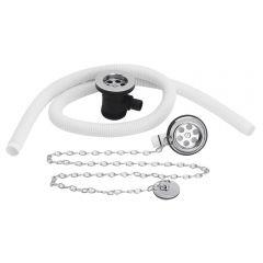 Ab- und Überlaufgarnitur mit Stöpsel füe Badewannen mit bis zu 20mm Dicke Weiß