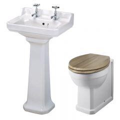 Badausstattung Richmond - WC & Keramikwaschbecken für 2-Loch Armatur