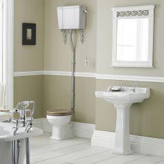 Badausstattung - Klassisches WC-Set & Sockel-Waschbecken mittelgroß 2-Loch