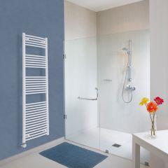 Elektrischer Handtuchheizkörper Gebogen Weiß 1800mm x 500mm inkl. ein 1000W Heizelement - Etna
