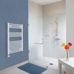 Elektrischer Handtuchheizkörper Gebogen Weiß 1000mm x 600mm inkl. ein 800W Heizelement - Etna
