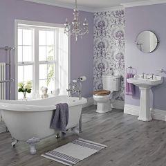 Traditionelle Badausstattung Carlton - Toilette, Waschbecken und Badewanne - mit Armaturen und Ablaufgarnituren
