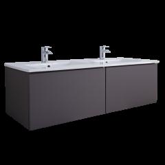 Hudson Reed Newington - 1200mm Moderner Badschrank mit Doppelbecken - Mattgrau