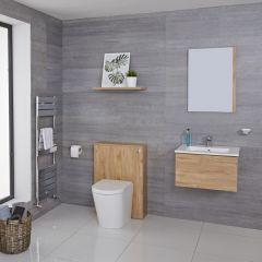 Hudson Reed Newington - Moderne Standtoilette mit Vorwandelement 600mm & Spülkasten - Goldene Eiche