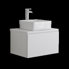 Hudson Reed Newington - 600mm Moderner Badschrank mit rechteckigem Aufsatzbecken - Mattweiß