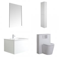 Hudson Reed Newington 600mm Badschrank mit Toilette, Aufbewahrungseinheit und Spiegel  - Mattweiß