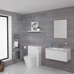 Hudson Reed Newington 800mm Vanity Unit mit Becken, Toiletteneinheit und Wandpanel - Mattweiß