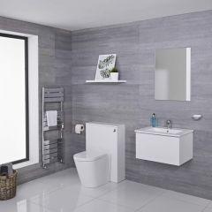 Hudson Reed Newington 600mm Vanity Unit mit Becken, Toilette und Wandpanel - Mattweiß