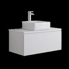 Hudson Reed Newington - 800mm Moderner Badschrank mit rechteckigem Aufsatzbecken - Mattweiß
