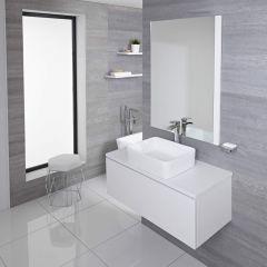 Hudson Reed Newington - 1000mm Moderner Badschrank mit rechteckigem Aufsatzbecken - Mattweiß