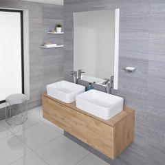 Hudson Reed Newington - 1200mm Moderner Badschrank mit rechteckigem Aufsatzdoppelbecken - Goldene Eiche