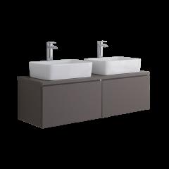 Hudson Reed Newington - 1200mm Moderner Badschrank mit rechteckigem Aufsatzdoppelbecken - Mattgrau