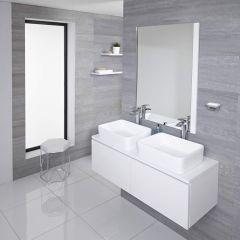 Hudson Reed Newington - 1200mm Moderner Badschrank mit rechteckigem Aufsatzdoppelbecken - Mattweiß