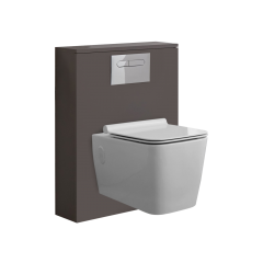 Hudson Reed Newington - 600mm Moderne Toilette mit rechteckiger Wandbefestigung - Mattgrau