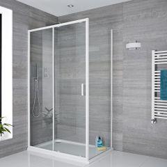 Schiebetür 1700mm und 800mm Seitenpaneel in Weiß, inkl. weißer Duschtasse  - Lux