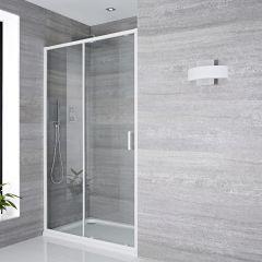 Schiebetür Dusche 1100mm Weiß - Lux