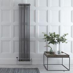Gliederheizkörper Vertikal 3 Säulen Nostalgie Rohmetall 1800mm x 383mm 1558W - Regent
