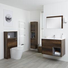 Hudson Reed Hoxton 800mm Waschtischunterschrank, WC mit Spülkastenverkleidung, Schrank & Spiegel - Dunkle Eiche