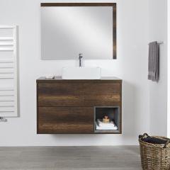 Hudson Reed Hoxton - 1000 mm moderner Waschtischunterschrank mit Aufsatzwaschbecken - Dunkle Eiche