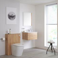 Hudson Reed Newington - Waschtisch mit Unterschrank 600mm & WC mit Vorwandelement - Goldeiche