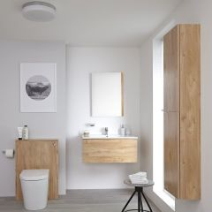 Hudson Reed Newington - Waschtisch mit Unterschrank 800mm, WC mit Vorwandelement, Badschrank & Spiegel - Goldeiche