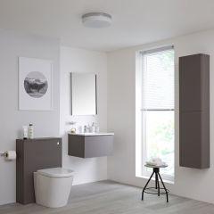 Hudson Reed Newington - Waschtisch mit Unterschrank 600mm, WC mit Vorwandelement, Badschrank & Spiegel - Mattgrau