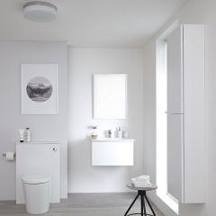 Hudson Reed Newington - Waschtisch mit Unterschrank 600mm, WC mit Vorwandelement, Badschrank & Spiegel - Mattweiß