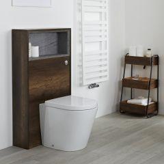 Hudson Reed Hoxton - 1150mm moderne Toilettenverkleidung mit Ablage - Dunkle Eiche