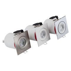 Biard 3x Einbauspot mit verschiedenen Blenden, Brandschutzklassifiziert und IP20 getestet für GU10 Birnen - Eckig Kippbar Ø72mm