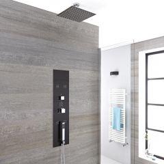 Unterputz Duschpaneel Llis in dunklem Grau mit 3 Funktionen & quadratischem 200mm Duschkopf Deckenmontage - Llis