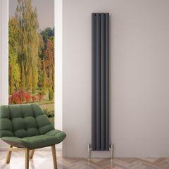 Design Heizkörper Aluminium Doppellagig Vertikal Anthrazit 1800mm x 230mm 1002W - Revive Air