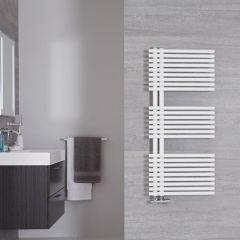 Handtuchheizkörper Mittelanschluss versetzt Mineral Weiß 734W 1120mm x 500mm - Iseo