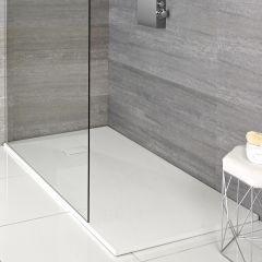 Hudson Reed matt-weiß Stein-Optik rechteckige Duschwanne 900x800mm