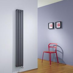 Design Heizkörper Elektrisch Vertikal Einlagig Anthrazit 1600mm x 236mm inkl. ein 800W Heizelement - Revive
