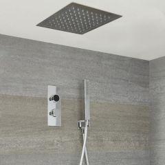 Digitale Dusche für zwei Funktionen, inkl. quadratischem Unterputzduschkopf & Brause - Narus
