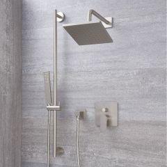 Harting Einhebel-Duscharmatur mit Umschalter mit 200mm Kopf und Duschstangenset - Gebürstetes Nickel