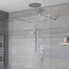 Duscharmatur mit Drucktasten 2 Funktionen, inkl. Duschstange und 400mm Unterputzduschkopf- Idro