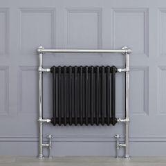 Avon - Schwarzer traditioneller Handtuchheizkörper - 930mm x 790mm x 230mm