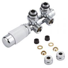 Hahnblock Heizkörperwinkelventil Manuell & thermostatisch Weiß inkl. Multiadapter für 12mm Kupferrohre im Set