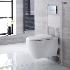 Hänge WC Oval inkl. Unterputzspülkasten 1150mm x 500mm und wählbarer Betätigungsplatte - Kenton
