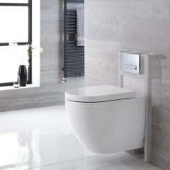 Hänge WC Oval inkl. Unterbauspülkasten 820mm x 400mm und wählbarer Betätigungsplatte - Ashbury