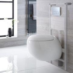 Hänge WC Oval mit Unterputzspülkasten & wählbarer Betätigungsplatte - Langtree