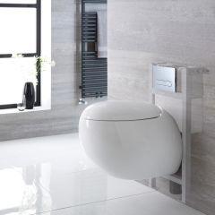 Hänge WC Oval mit niedrigem Unterputzspülkasten & wählbarer Betätigungsplatte - Langtree