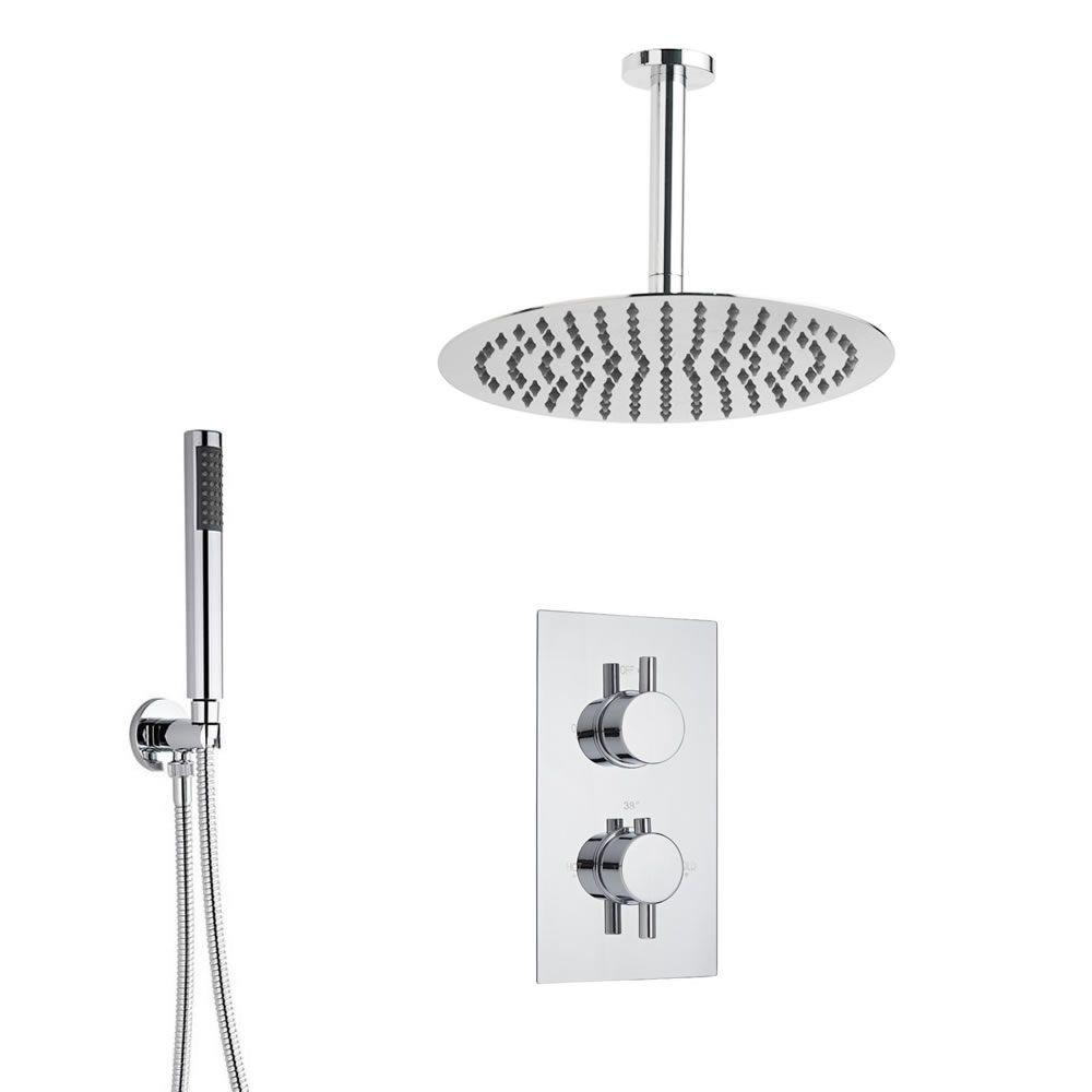 duschsystem inkl 200mm kopfbrause zur deckenmontage twin duscharmatur ecco. Black Bedroom Furniture Sets. Home Design Ideas