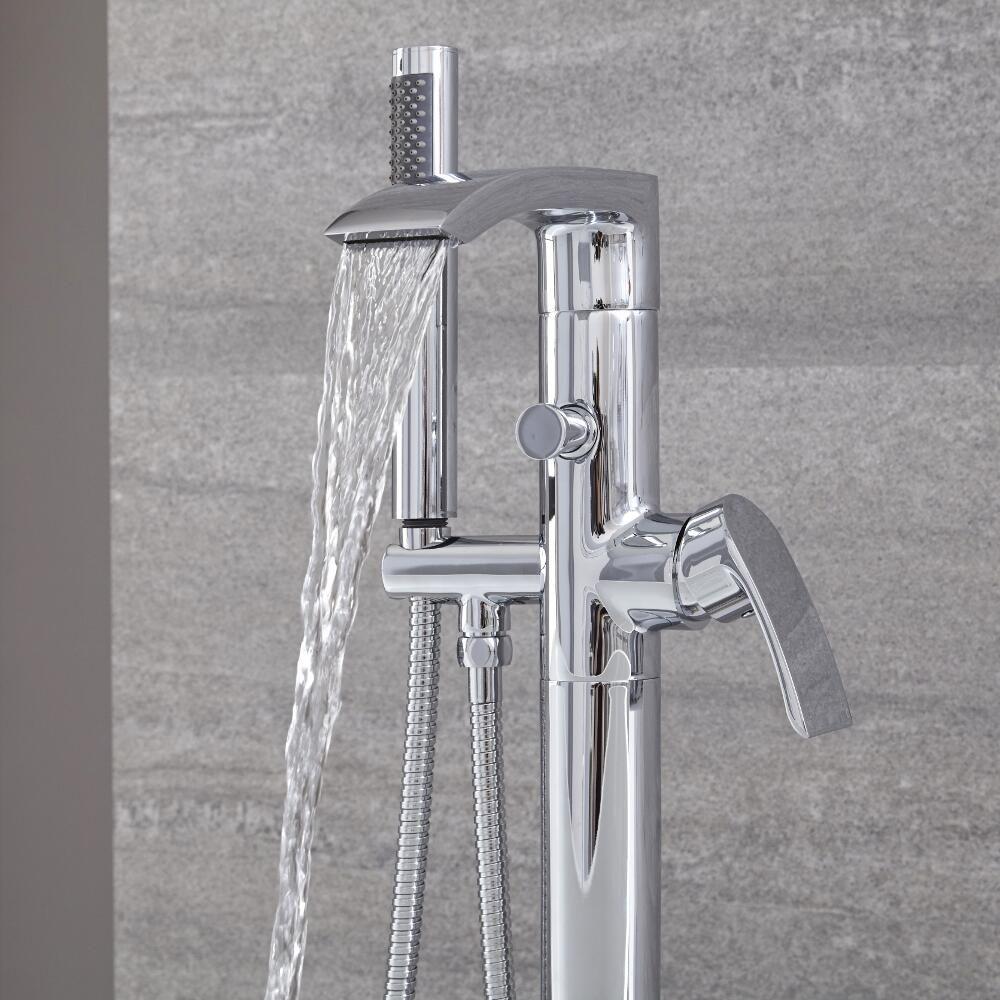 standarmatur f r badewannen mit handbrause und wasserfallauslauf razor. Black Bedroom Furniture Sets. Home Design Ideas
