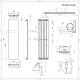 Handtuchheizkörper Mittelanschluss Mineral Weiß 923W 1800mm x 450mm - Trevi