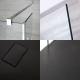 Walk-In Duschwand 1200mm inkl. 2 Seitenteile & 1200mm x 900mm Anthrazit Duschtasse - Portland