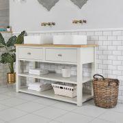 Waschtischunterschrank mit 2 eckigen Aufsatzwaschbecken und offenen Fächern B 1240mm Antikweiß - Stratford