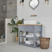 Waschtischunterschrank mit eckigem Aufsatzwaschbecken und offenen Fächern B 840mm Hellgrau - Stratford