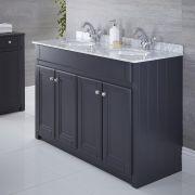 Waschtischunterschrank mit Aufsatzwaschbecken 1200mm Anthrazit - Charlton